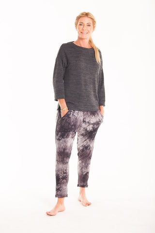 Button Harem Pants - Black Tie Dye