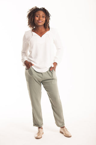 Satin Slouch Pants - Khaki