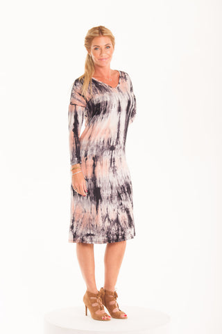 Sophie Dress - Pink/Black tie dye