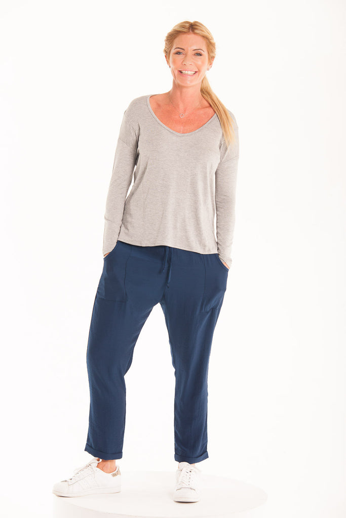 Satin Slouch Pants - Navy