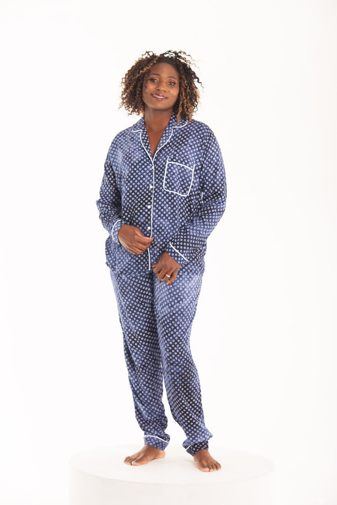 Long Pyjama Set - Navy/White