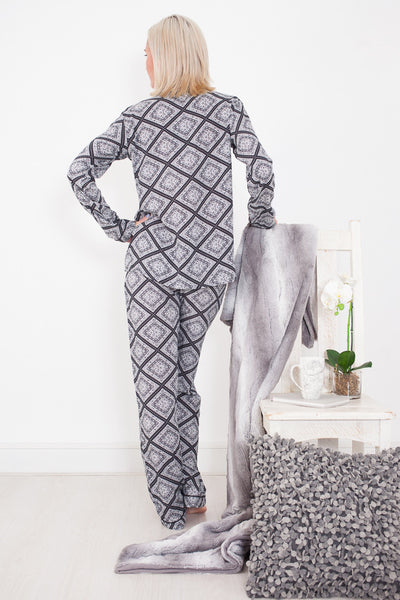 Long Pyjama Set Black and White Signature Clothing