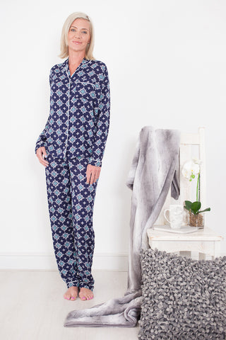 Long Pyjama Set Navy & Turquoise Signature Clothing