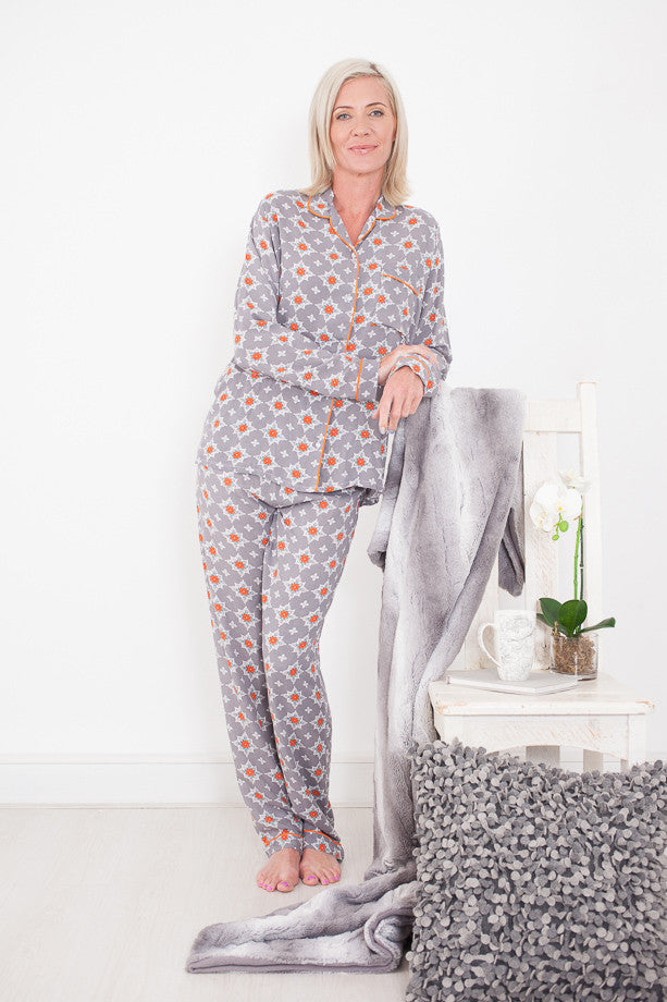 Long Pyjama Set Grey and Orange Signature Clothing