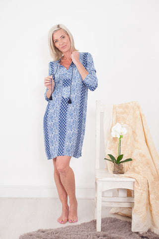 Jessica Dress Blue and White Signature Clothing