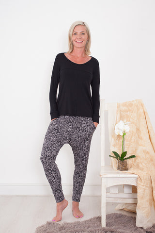 Harem Pants Black and Cream Signature Clothing