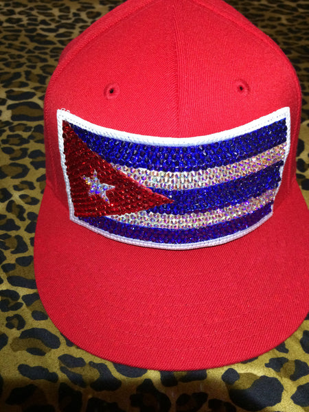 Red hat Cuban flag Swarovski crystal handmade