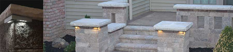 LED Pillar light installed on pillar walls and steps leading to front porch