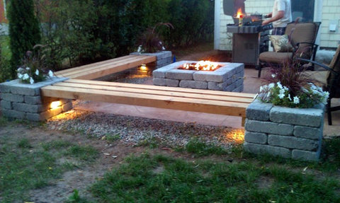 Pillar Wall Lights showcasing a really cool fire pit area in the back yard