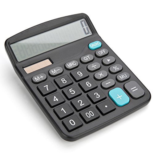 Bear Motion Standard Function Desktop Handheld Calculator Large 12-digit Display - Battery Required / with Solar Panel as Secondary Power Source