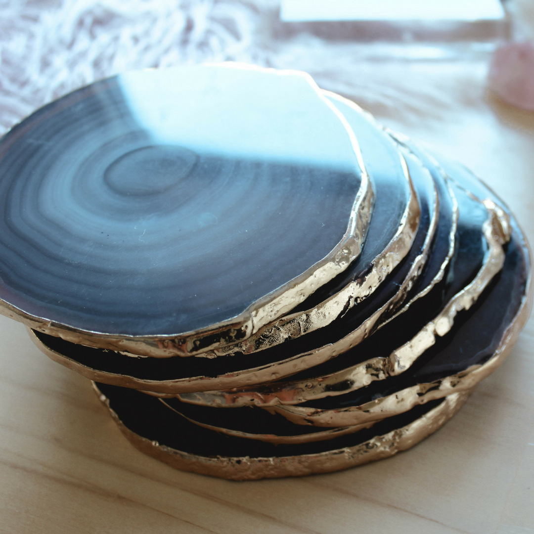 Natural Agate Coaster Gold Gilded [Single Coaster]