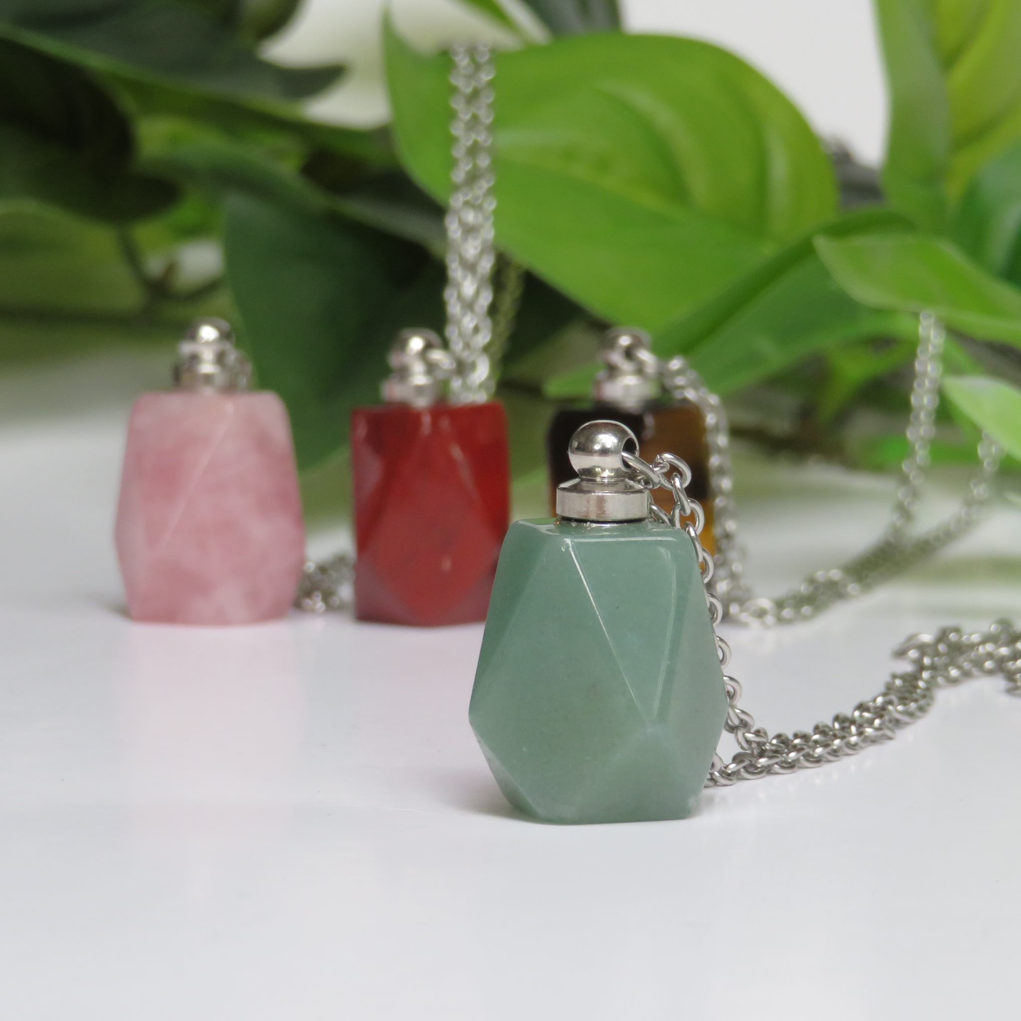 Green Aventurine Perfume Bottle Necklace