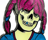 "Glow/Glitter/Magenta - World's Biggest Sue Nami ""Secret Society"" Enamel Badge"