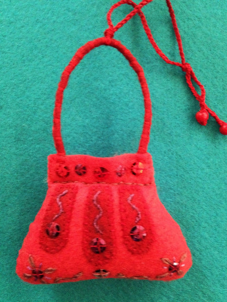 PURSE ORNAMENT, LIPSTICK RED WITH CRANBERRY #6 by artist Ulla Anobile