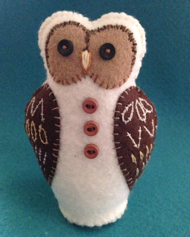 WINTER OWL (white with brown wings) by artist Ulla Anobile