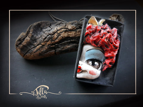 QUEEN OF HEARTS PENDANT (Dolls in a Box Series) by artist Silvia Scarpellini (La Tilla)
