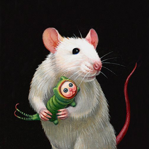 Lady Mouse with her Puss Moth Caterpillar Giclee Print by artist Olga Ponomarenko