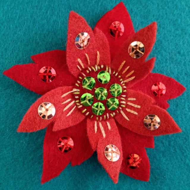 POINSETTIA BROOCH #3 by artist Ulla Anobile