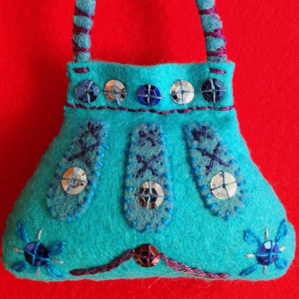 PURSE ORNAMENT, PERSIAN BLUE #2 by artist Ulla Anobile