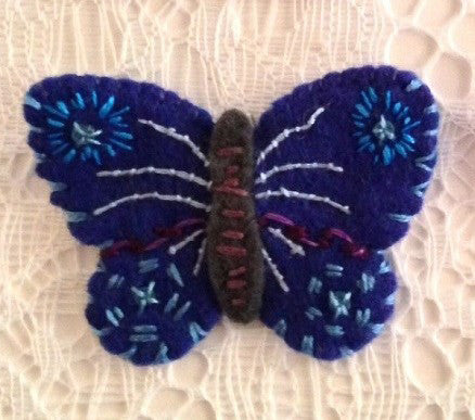 """Royal Blue Butterfly Pin #1"" by artist Ulla Anobile"