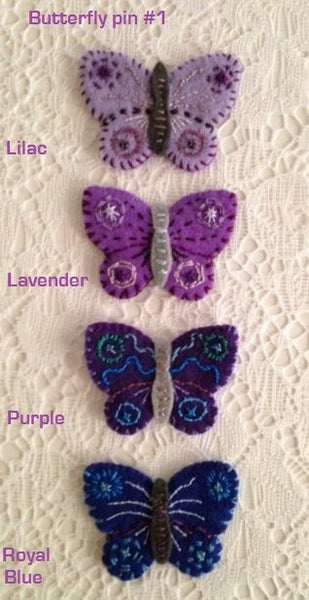 """Lavender Butterfly Pin #1"" by artist Ulla Anobile"