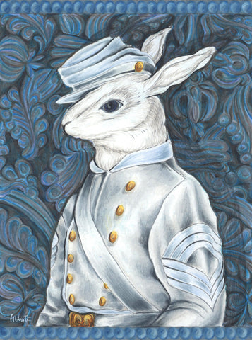 Civil War Rabbit - Confederate Army - Sergeant Major by artist Donna Abbate