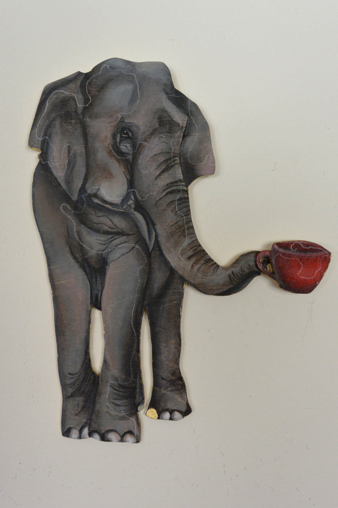 Elegant Elephant Enjoying Espresso by artist Sarah Polzin