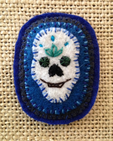 SKULL BROOCH #2 (Blue) by artist Ulla Anobile