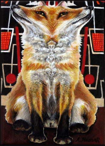 FUNHOUSE MIRROR FOX by artist Annette Hassell