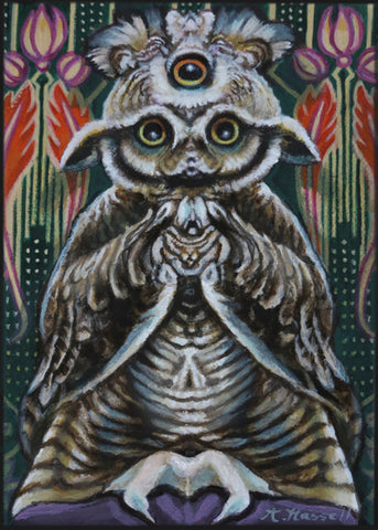 FUNHOUSE MIRROR SCREECH OWL by artist Annette Hassell