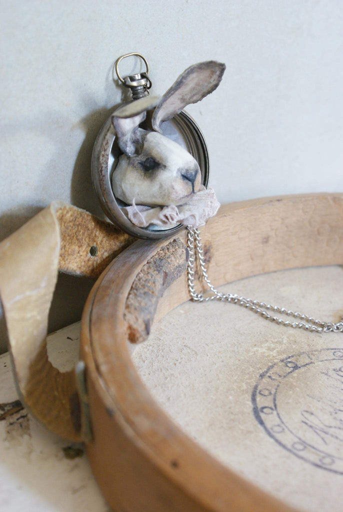 HARE HEAD WITH WATCH CASE by artist Vestri DisFairy Clay Artist
