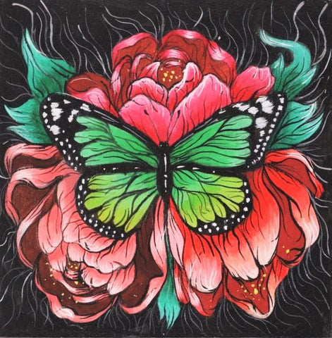 GREEN MONARCH BUTTERFLY by artist Skye Becker-Yamakawa