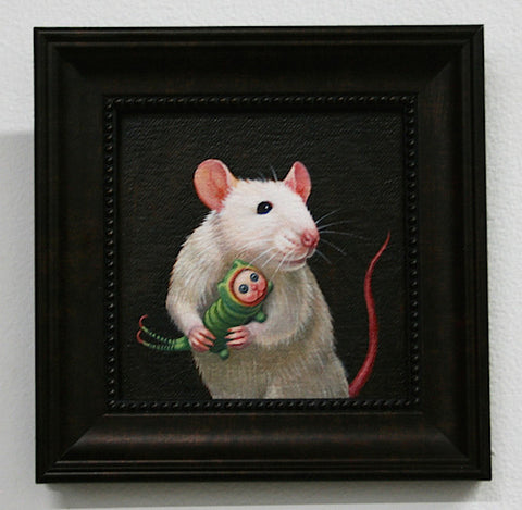 Lady Mouse with her Puss Moth Caterpillar by artist Olga Ponomarenko