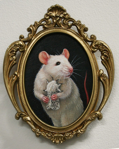 Lady Mouse with Ermine Moth (After Leonardo) by artist Olga Ponomarenko