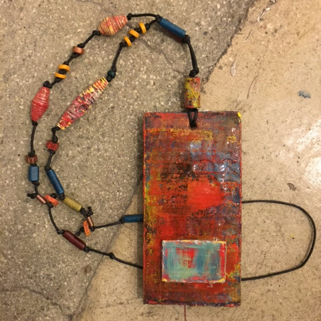 Red/Blue Necklace by artist Andrea Bogdan