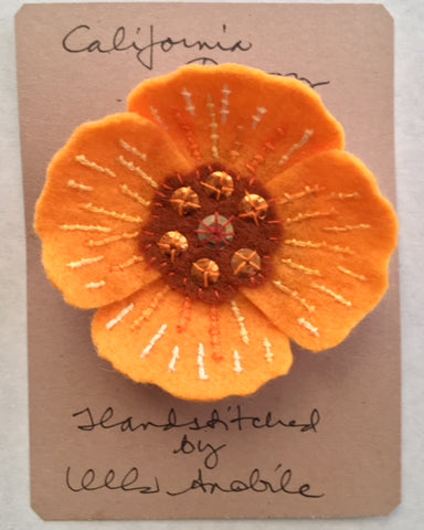CALIFORNIA POPPY BROOCH by artist Ulla Anobile