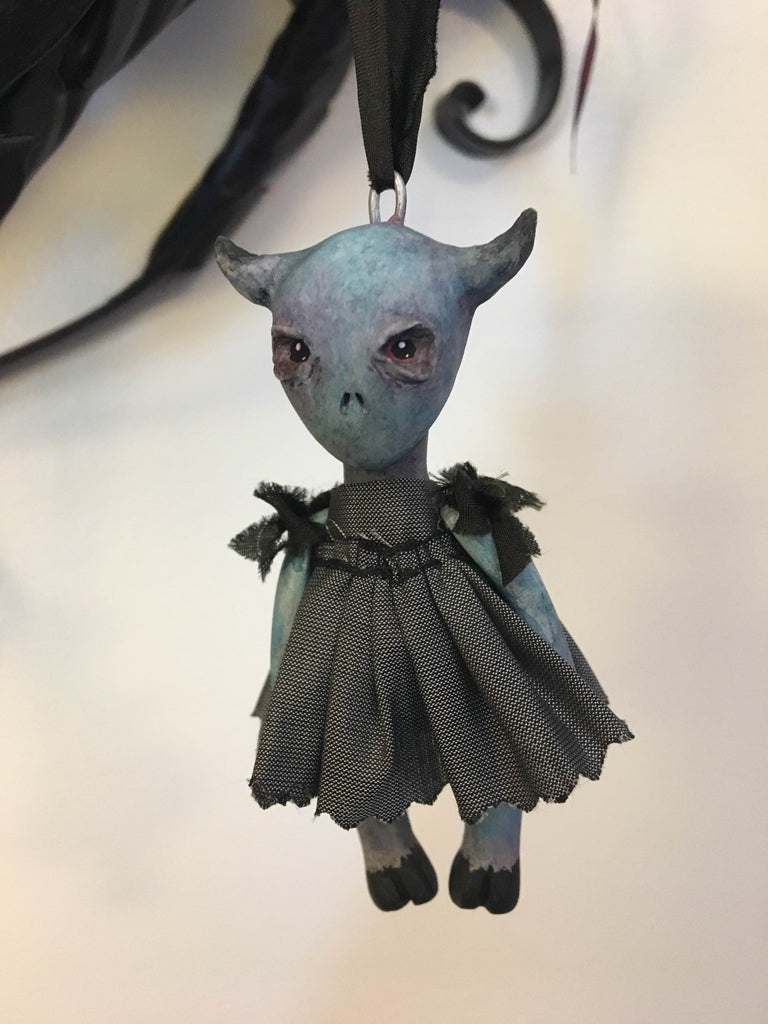 Blue Alien Ornament by artist Richelle Nicole
