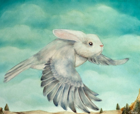 Lapin du Ciel (Bunny in the Sky) by artist Corine Perier