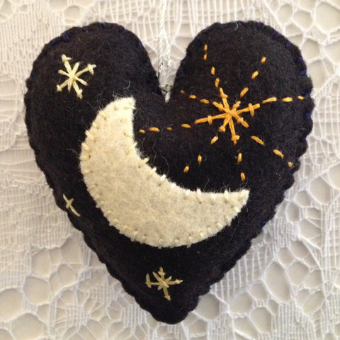 """Moon & Stars Black Heart Ornament"" by artist Ulla Anobile"