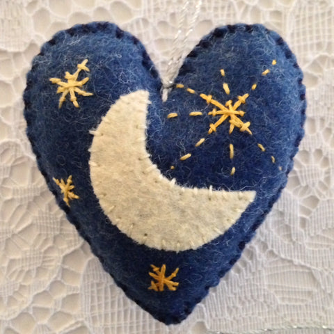 """Moon & Stars Dark Blue Heather Heart Ornament"" by artist Ulla Anobile"
