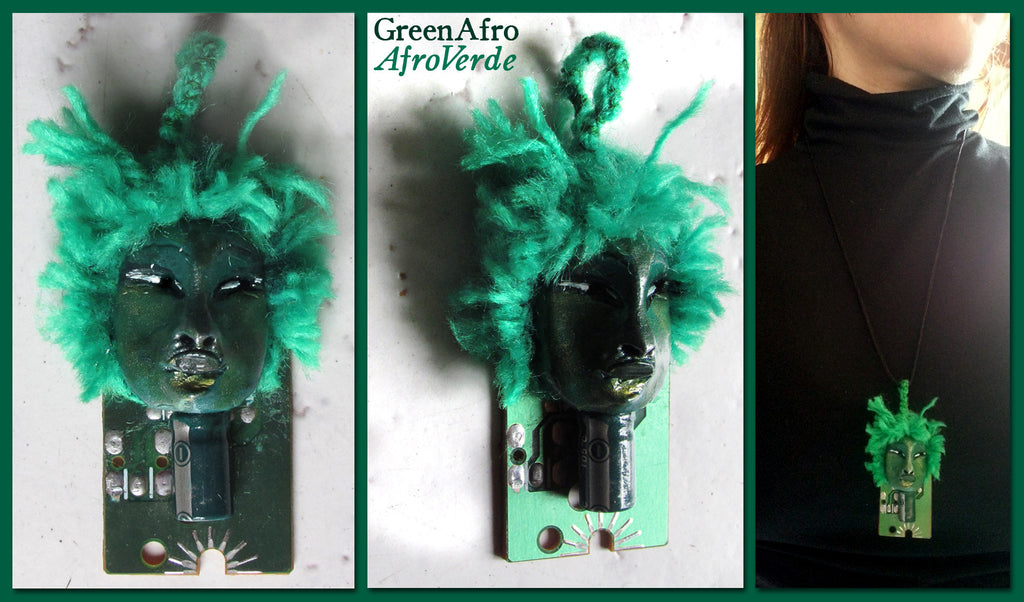 Green Afro Pendant by artist Patricia Krebs