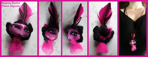 Magenta Feather Pendant by artist Patricia Krebs