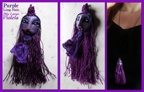 Purple Long Hair Pendant by artist Patricia Krebs