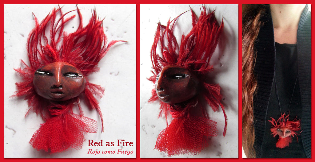 Red as Fire Pendant by artist Patricia Krebs