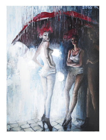 Red Umbrella (El paraguas #5/The Umbrella) by artist Rasa Jadzeviciene