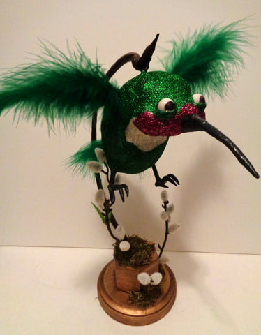 RARE THREE POUND RUBY THROATED ARGENTINE HUMMING BIRD by artist Denise Bledsoe