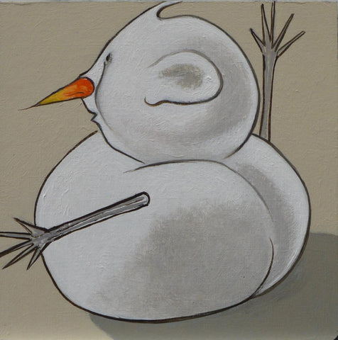 SNOWMAN WITH CARROT STUCK UP HIS NOSE... by artist Janet Olenik