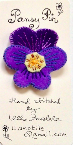 Pansy Pin #4 by artist Ulla Anobile