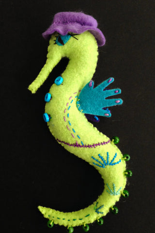 Seahorse Doll, Lime by artist Ulla Anobile