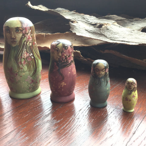 SPRING Nesting Doll Set by artist Lacey Bryant